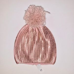 NWT GAP Kids Rose Gold Youth Pom Beanie